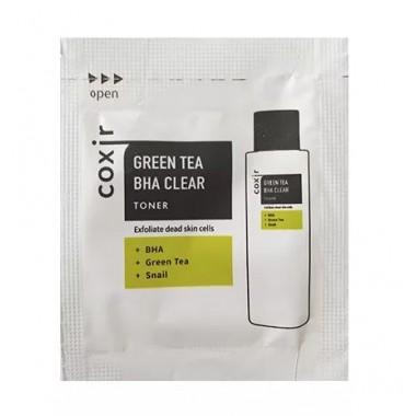 Тонер отшелушивающий с зеленым чаем и BHA-кислотами, 2 мл, пробник — Green Tea BHA Clear Toner pouch