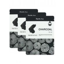 Набор тканевых масок для лица с углем, 23 мл*5 шт