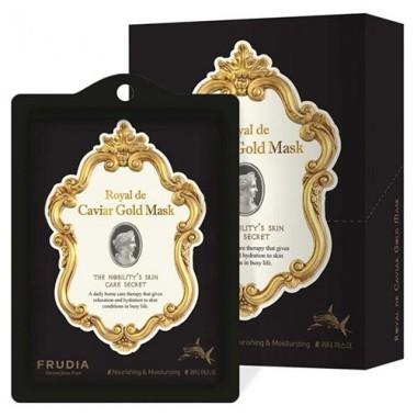 Frudia Маска тканевая лифтинг с икрой, пептидами и скваленом - Royal de caviar gold mask, 20мл