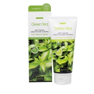 Jigott Пенка очищающая с экстрактом зелёного чая - Natural green tea foam cleansing, 180мл