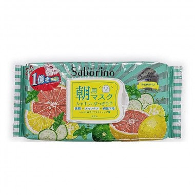 BCL Маска-салфетка для лица освежающая - Saborino morning face mask minty grapefruit, 32шт