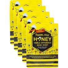 Набор тканевых масок для лица с экстрактом меда, 23 мл*5 шт