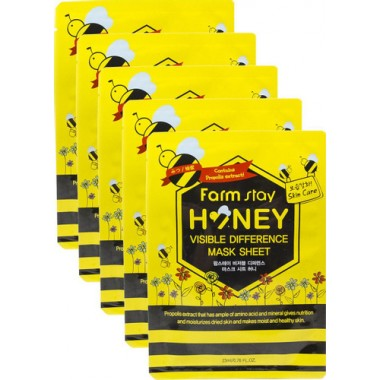 НАБОР: Тканевая маска для лица с экстрактом меда, 23мл, 5шт, FarmStay