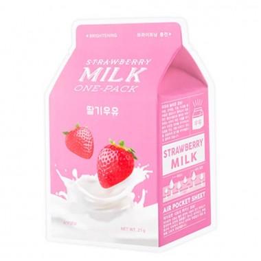 Маска тканевая йогуртовая с экстрактом клубники, 21 г — Strawberry milk one-pack
