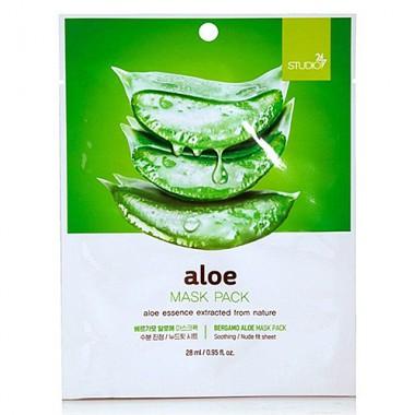 Тканевая маска для лица с экстрактом алоэ, 28 мл, BERGAMO