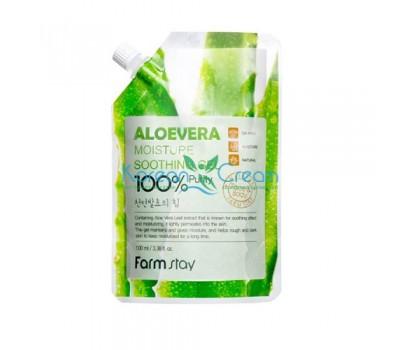 Увлажняющий успокаивающий гель для лица и тела с экстрактом алоэ, 100мл, FarmStay