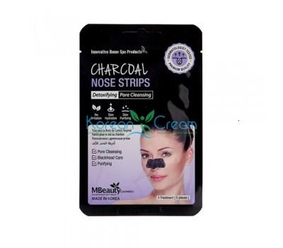 Маски-полоски с древесным углем для очищения пор в области носа Charcoal Nose Strips MBeauty, 5 шт