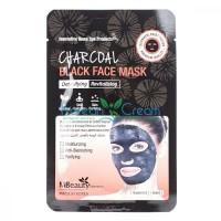 Восстанавливающая тканевая детокс-маска для лица с древесным углем Charcoal Black Face Mask MBeauty