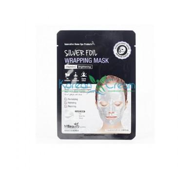 Восстанавливающая серебряная фольгированная маска для лица с витамином С Silver Foil Wrapping Mask MBeauty