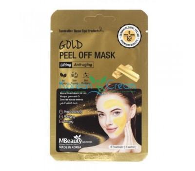 Подтягивающая маска-пленка с коллоидным золотом Gold Peel Off Mask MBeauty, 7 г х 3 шт