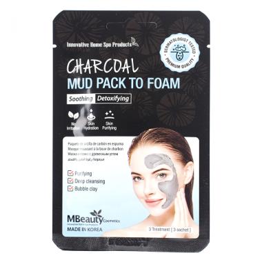 Глиняная маска-пенка для лица с древесным углем, 7 мл х 3 шт — Charcoal Mud Pack To Foam