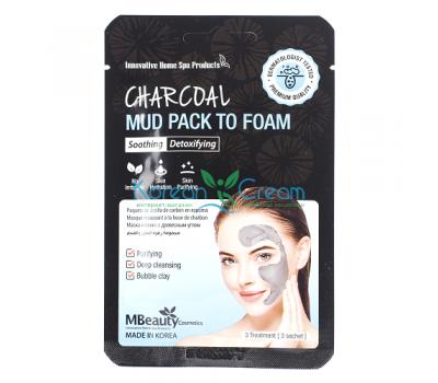 Глиняная маска-пенка для лица с древесным углем Charcoal Mud Pack To Foam MBeauty, 7мл х 3шт