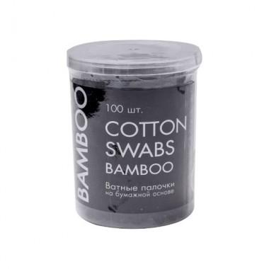 Ватные палочки черные на бумажной основе бамбука, 100 шт — Black cotton buds on bamboo paper base