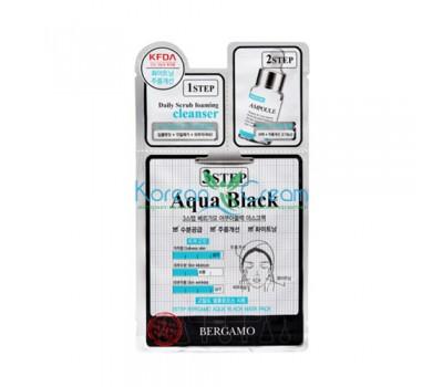 Трехэтапная маска для лица выравнивающая тон кожи 3Step Aqua Black Mask Pack BERGAMO
