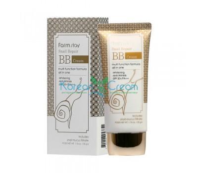 ББ крем восстанавливающий с муцином улитки Snail Repair BB Cream SPF50+/PA+++ FarmStay, 50 гр