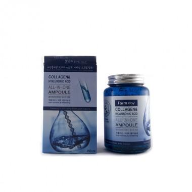Многофункциональная ампульная сыворотка с гиалуроновой кислотой и коллагеном, 250 мл — Collagen & Hyaluronic Acid All-In-One Ampoule