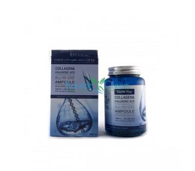 Многофункциональная ампульная сыворотка с гиалуроновой кислотой и коллагеном Collagen & Hyaluronic Acid All-In-One Ampoule FarmStay, 250 мл