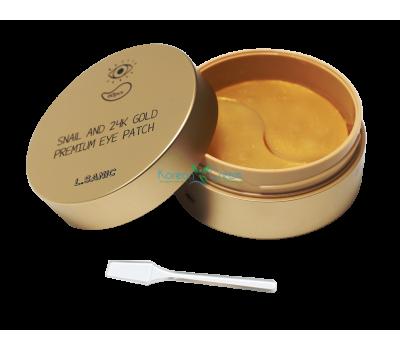 Гидрогелевые патчи для глаз с муцином улитки и золотом Snail Аnd 24K Gold Premium Eye Patch L.SANIC, 60 шт