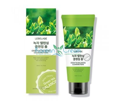 Балансирующая пенка для умывания с зеленым чаем Green Tea Balancing Cleansing Foam LEBELAGE, 180 мл