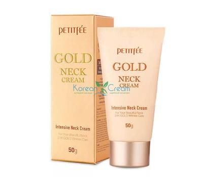 Крем для шеи антивозрастной с золотом Gold Neck Cream PETITFEE, 50 гр