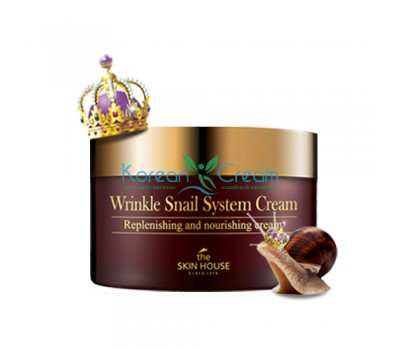 Антивозрастной крем на основе муцина улитки Wrinkle Snail System Cream The Skin House, 100 мл